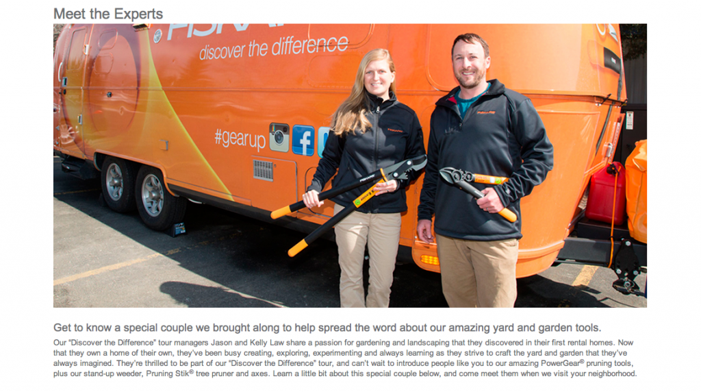 "An excerpt from our bio page, built for us on the Fiskars.com site during the ""Discover the Difference"" Tour."